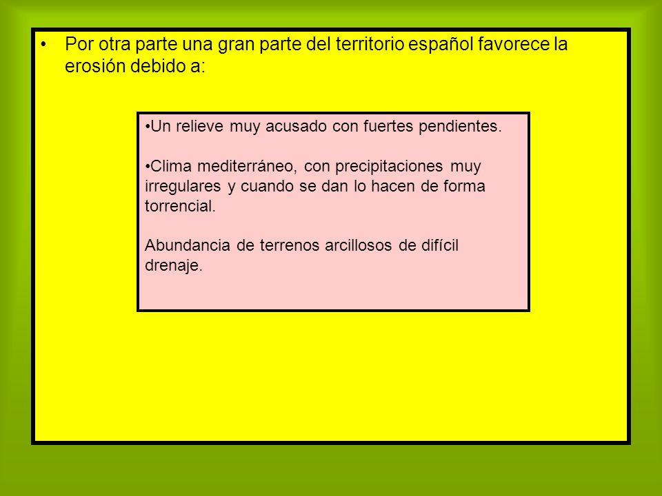 Por otra parte una gran parte del territorio español favorece la erosión debido a: Un relieve muy acusado con fuertes pendientes. Clima mediterráneo,