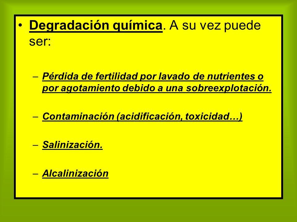 Degradación química. A su vez puede ser: –Pérdida de fertilidad por lavado de nutrientes o por agotamiento debido a una sobreexplotación. –Contaminaci