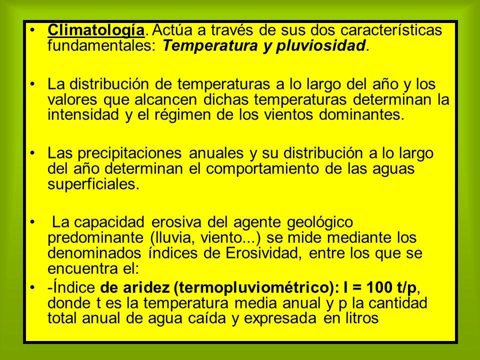 Climatología. Actúa a través de sus dos características fundamentales: Temperatura y pluviosidad. La distribución de temperaturas a lo largo del año y