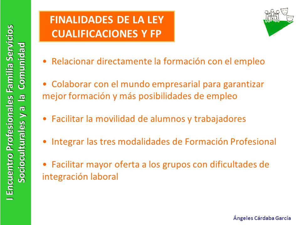 FINALIDADES DE LA LEY CUALIFICACIONES Y FP Relacionar directamente la formación con el empleo Colaborar con el mundo empresarial para garantizar mejor