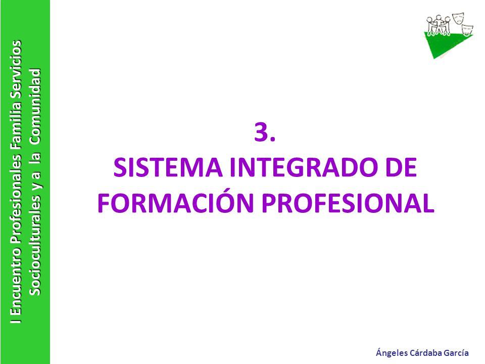 3. SISTEMA INTEGRADO DE FORMACIÓN PROFESIONAL I Encuentro Profesionales Familia Servicios Socioculturales y a la Comunidad Ángeles Cárdaba García
