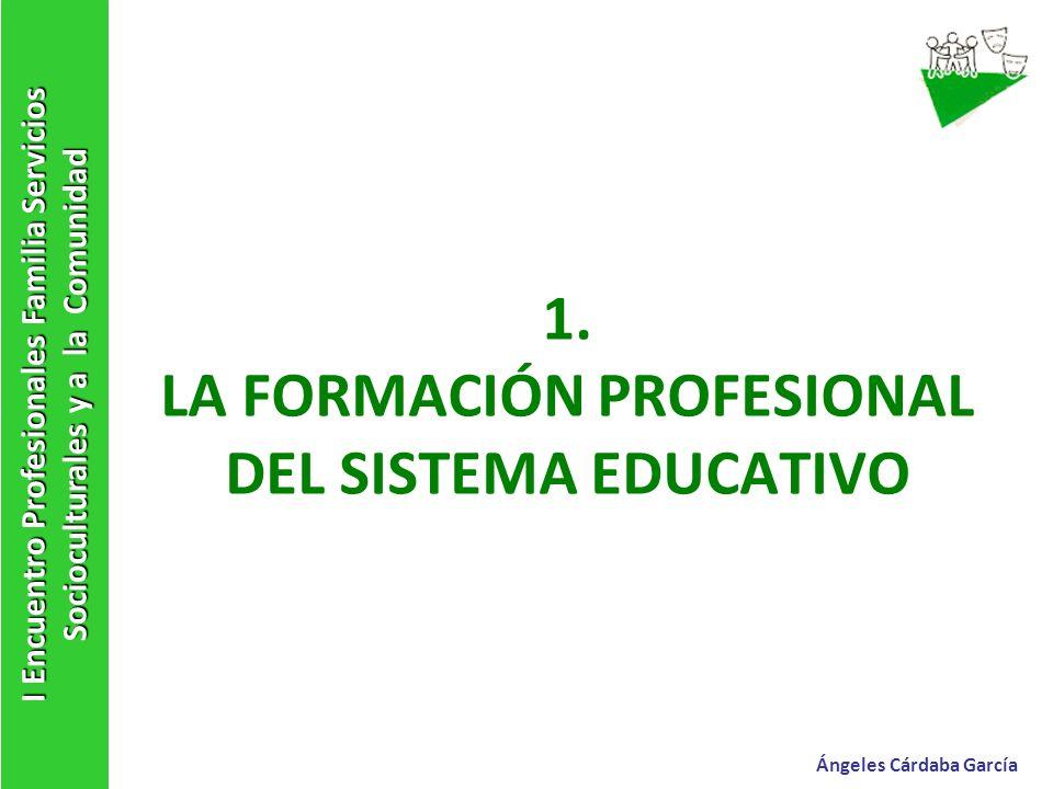 1. LA FORMACIÓN PROFESIONAL DEL SISTEMA EDUCATIVO I Encuentro Profesionales Familia Servicios Socioculturales y a la Comunidad Ángeles Cárdaba García