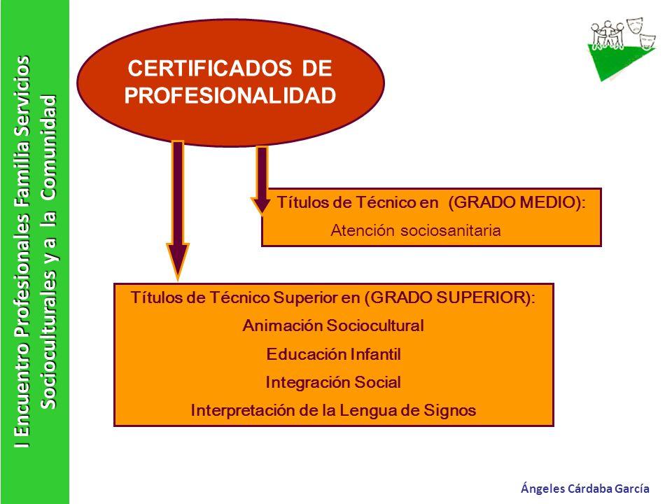 I Encuentro Profesionales Familia Servicios Socioculturales y a la Comunidad Ángeles Cárdaba García CERTIFICADOS DE PROFESIONALIDAD Títulos de Técnico