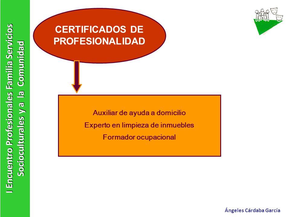 I Encuentro Profesionales Familia Servicios Socioculturales y a la Comunidad Ángeles Cárdaba García CERTIFICADOS DE PROFESIONALIDAD Auxiliar de ayuda