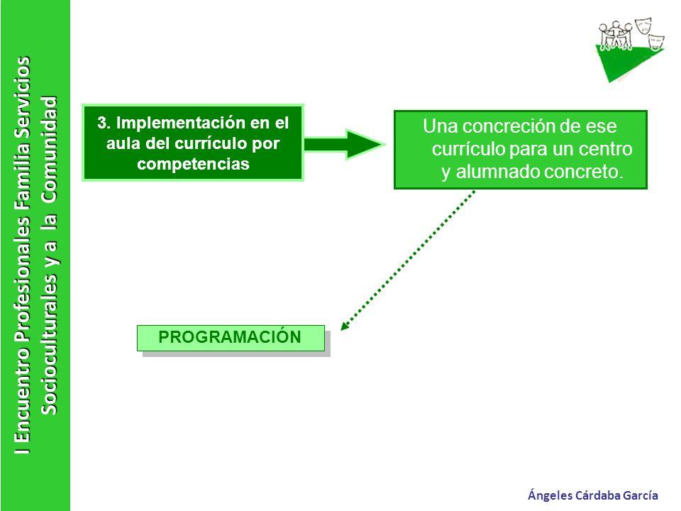I Encuentro Profesionales Familia Servicios Socioculturales y a la Comunidad Ángeles Cárdaba García 3. Implementación en el aula del currículo por com