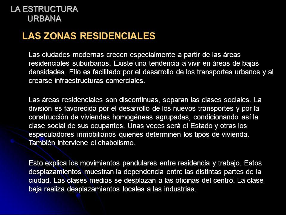 LA ESTRUCTURA URBANA LAS ZONAS RESIDENCIALES Las ciudades modernas crecen especialmente a partir de las áreas residenciales suburbanas. Existe una ten