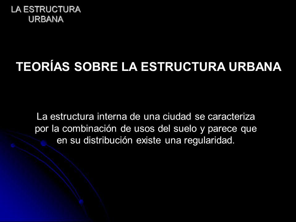 LA ESTRUCTURA URBANA La estructura interna de una ciudad se caracteriza por la combinación de usos del suelo y parece que en su distribución existe un