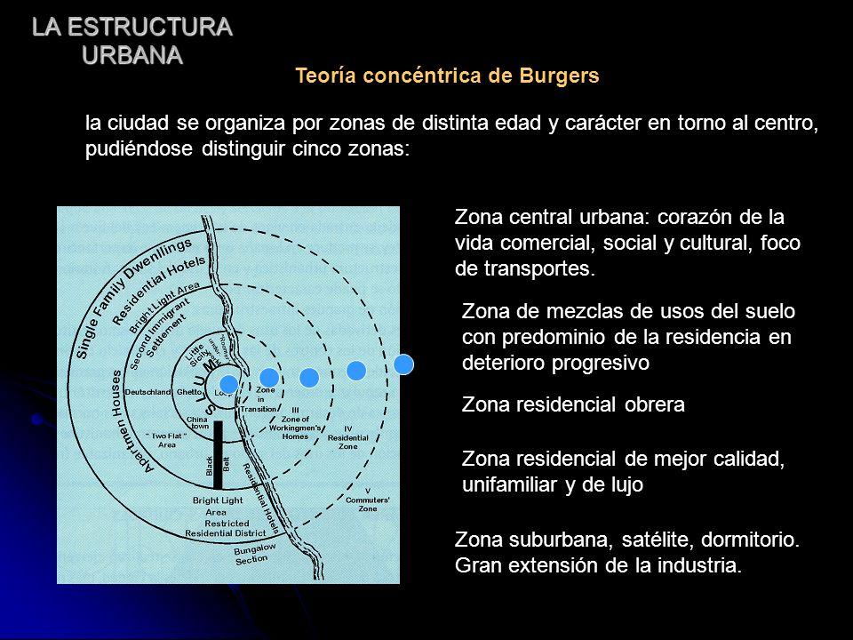 LA ESTRUCTURA URBANA Teoría concéntrica de Burgers la ciudad se organiza por zonas de distinta edad y carácter en torno al centro, pudiéndose distingu