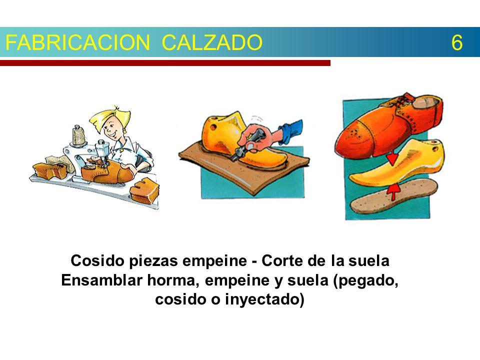 FABRICACION CALZADO 6 Cosido piezas empeine - Corte de la suela Ensamblar horma, empeine y suela (pegado, cosido o inyectado)