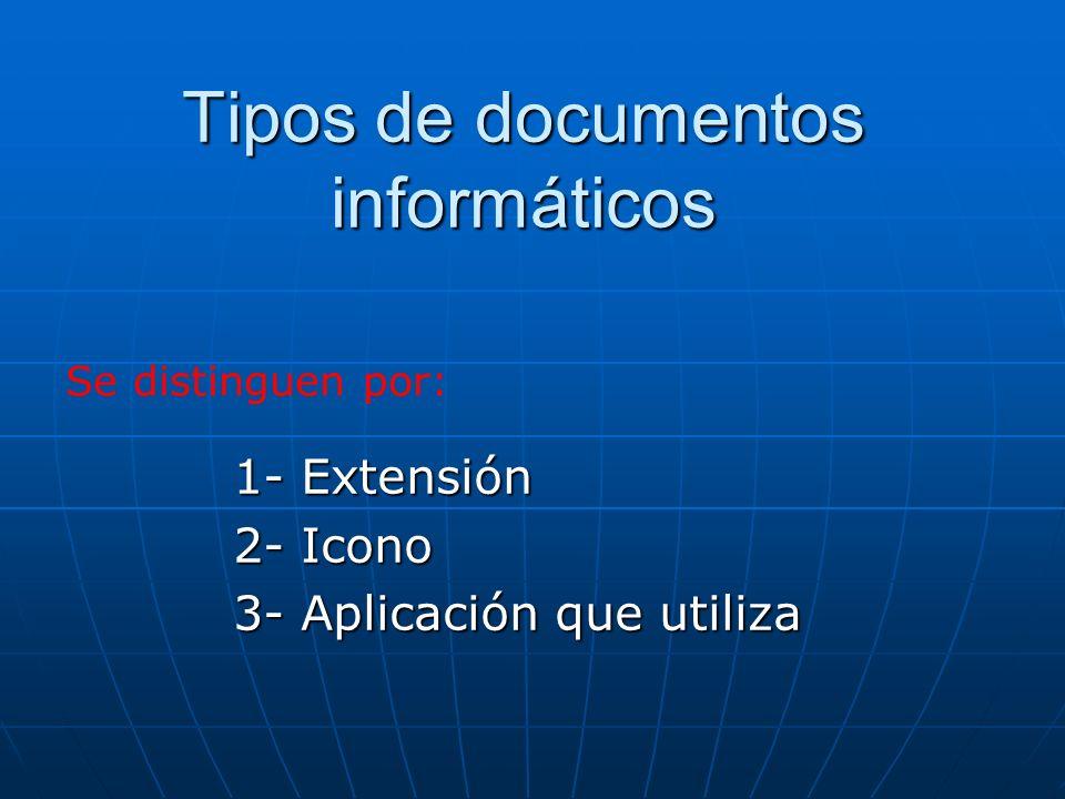 1.Extensiones *.doc*.doc *.rtf*.rtf 2.Iconos 3.Aplicación: Microsoft WordMicrosoft Word OpenOfficeOpenOffice Documentos editables