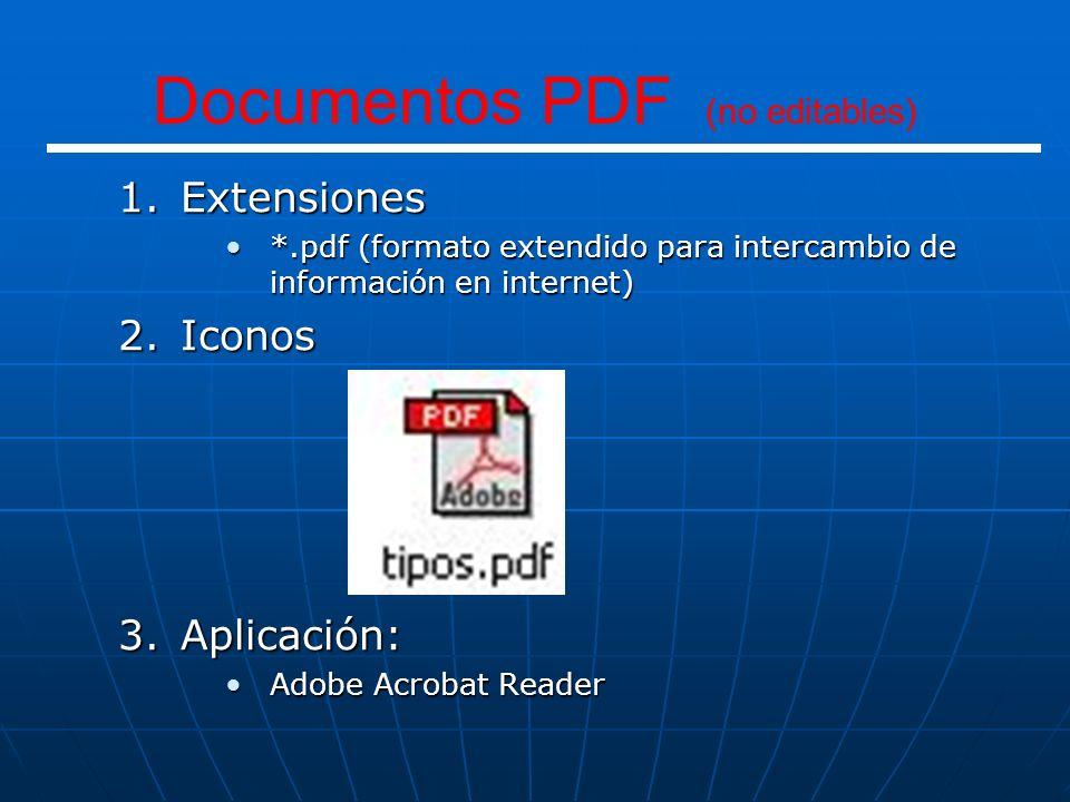 1.Extensiones *.htm*.htm *.html*.html 2.Iconos 3.Aplicación: Internet ExplorerInternet Explorer FirefoxFirefox Páginas WEB (INTERNET)