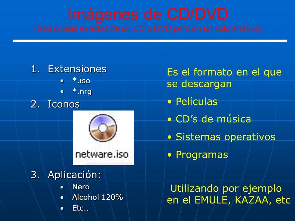 1.Extensiones *.iso*.iso *.nrg*.nrg 2.Iconos 3.Aplicación: NeroNero Alcohol 120%Alcohol 120% Etc..Etc.. Es el formato en el que se descargan Películas