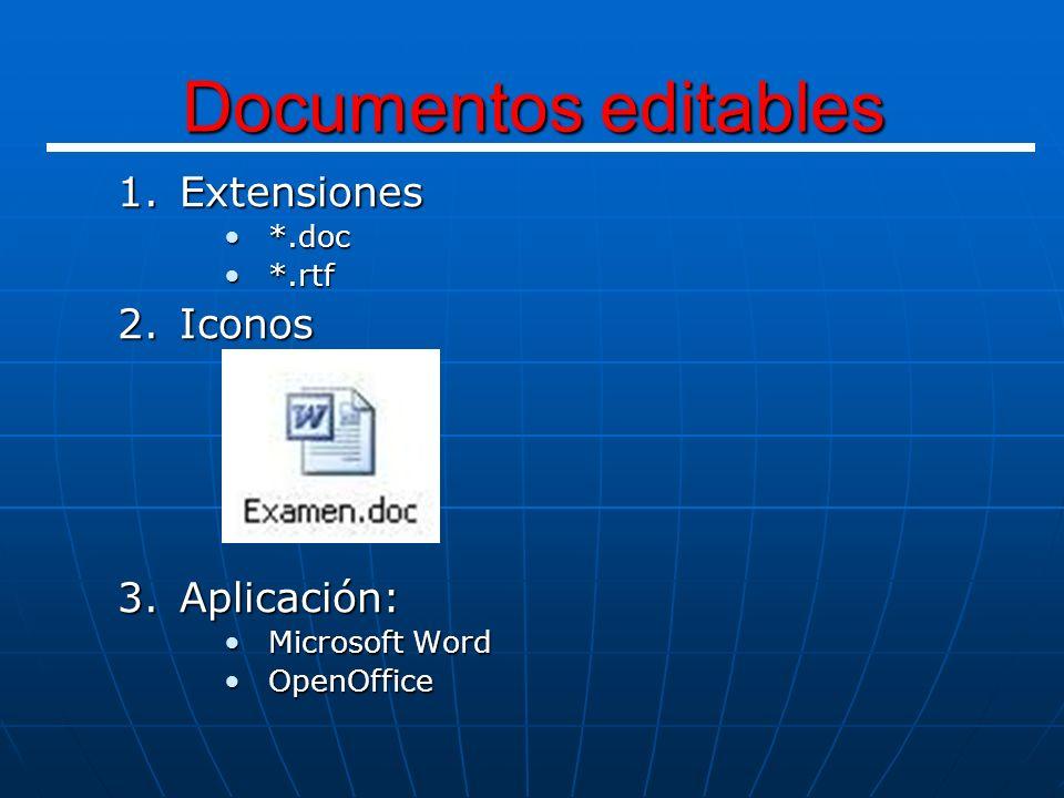 1.Extensiones *.xls*.xls 2.Iconos 3.Aplicación: Microsoft ExcelMicrosoft Excel Hojas de cálculo (operaciones matemáticas)