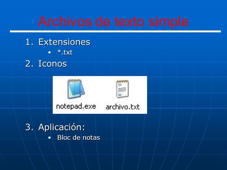 1.Extensiones *.ppt*.ppt *.pps*.pps 2.Iconos 3.Aplicación: Microsoft PowerPointMicrosoft PowerPoint Presentación PowerPoint