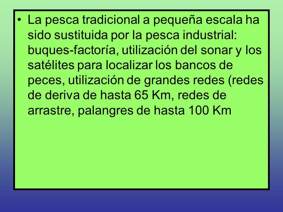 La pesca tradicional a pequeña escala ha sido sustituida por la pesca industrial: buques-factoría, utilización del sonar y los satélites para localiza