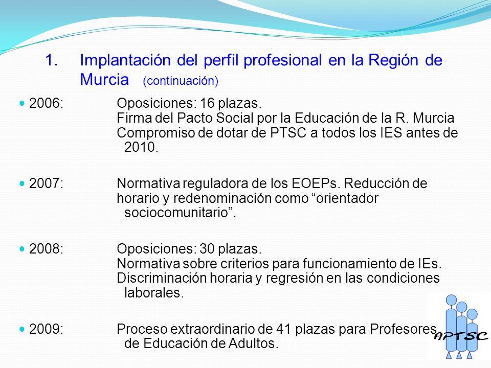 1. Implantación del perfil profesional en la Región de Murcia (continuación) 2006: Oposiciones: 16 plazas. Firma del Pacto Social por la Educación de