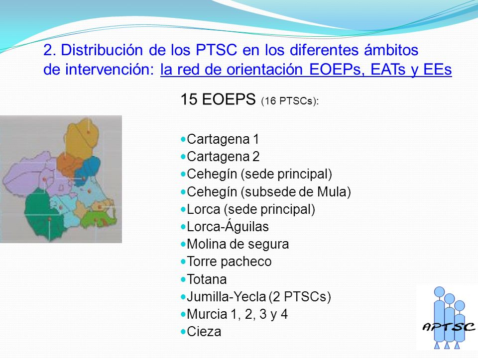 2. Distribución de los PTSC en los diferentes ámbitos de intervención: la red de orientación EOEPs, EATs y EEs 15 EOEPS (16 PTSCs): Cartagena 1 Cartag