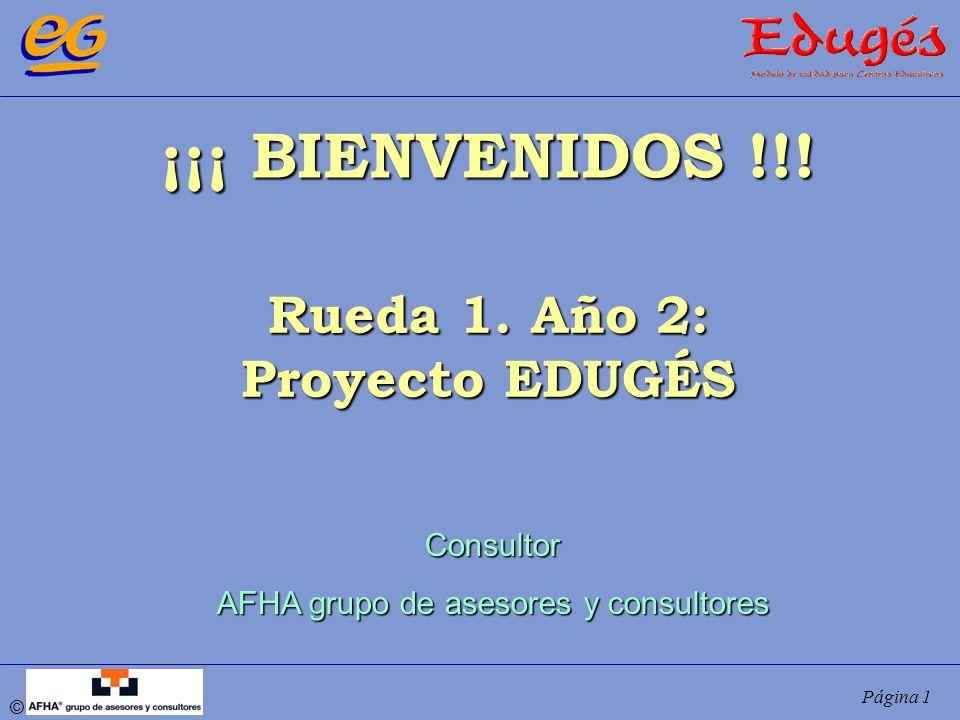 © Página 1 ¡¡¡ BIENVENIDOS !!! Rueda 1. Año 2: Proyecto EDUGÉS Consultor AFHA grupo de asesores y consultores