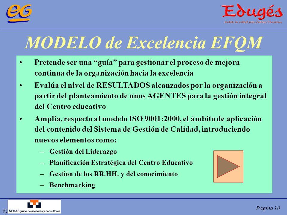 © Página 10 MODELO de Excelencia EFQM Pretende ser una guía para gestionar el proceso de mejora continua de la organización hacia la excelencia Evalúa