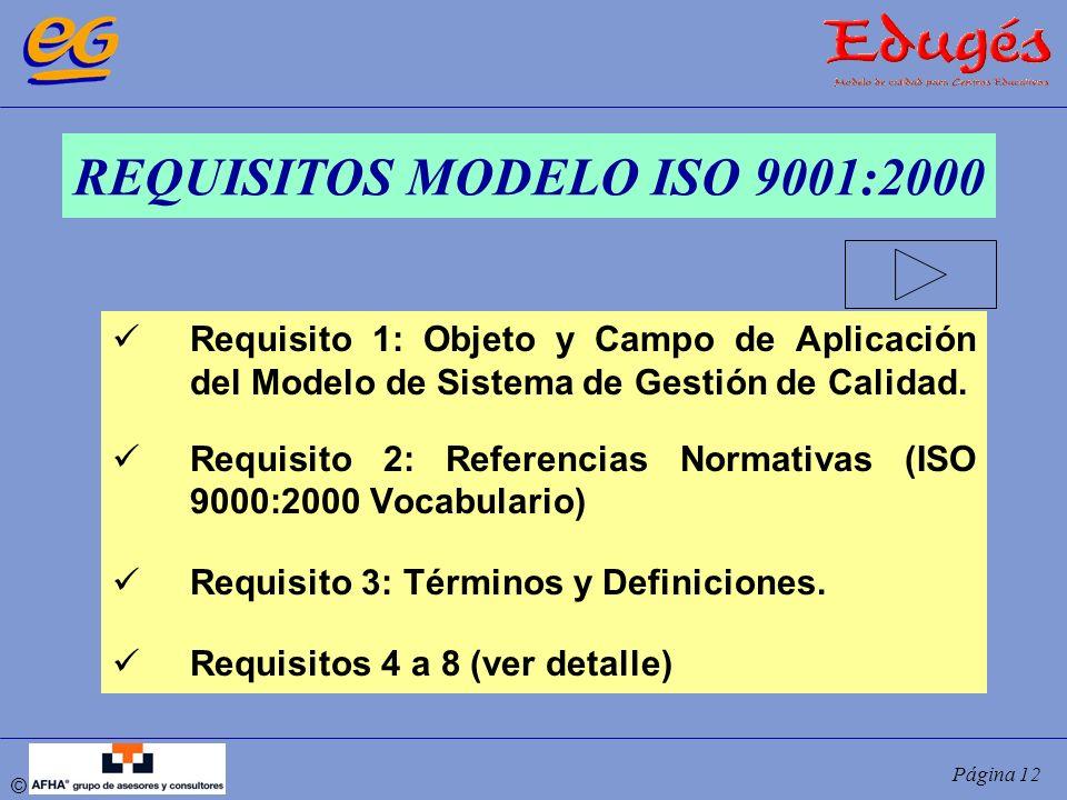 © Página 12 REQUISITOS MODELO ISO 9001:2000 Requisito 1: Objeto y Campo de Aplicación del Modelo de Sistema de Gestión de Calidad. Requisito 2: Refere