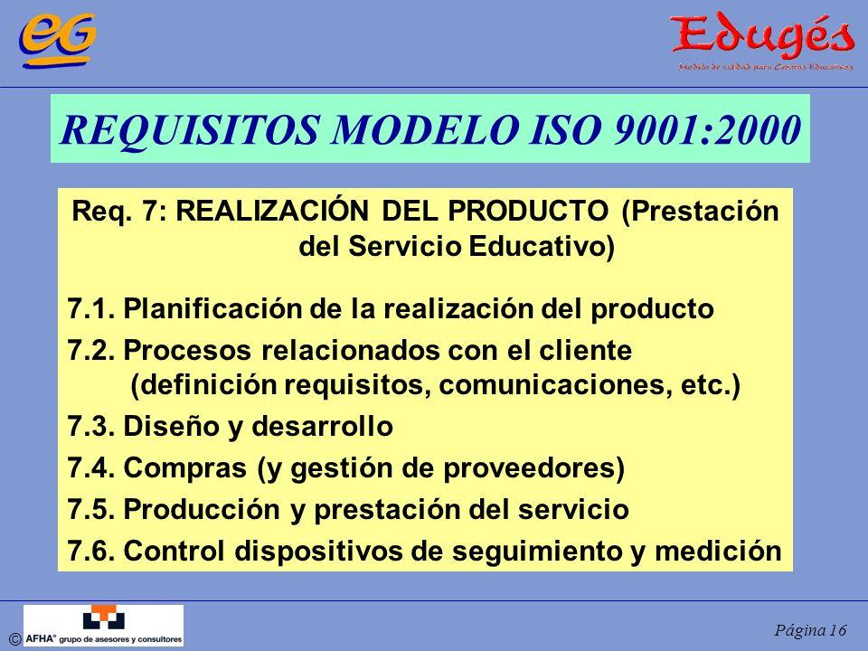 © Página 16 REQUISITOS MODELO ISO 9001:2000 Req. 7: REALIZACIÓN DEL PRODUCTO (Prestación del Servicio Educativo) 7.1. Planificación de la realización