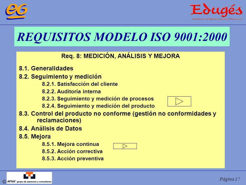© Página 17 REQUISITOS MODELO ISO 9001:2000 Req. 8: MEDICIÓN, ANÁLISIS Y MEJORA 8.1. Generalidades 8.2. Seguimiento y medición 8.2.1. Satisfacción del