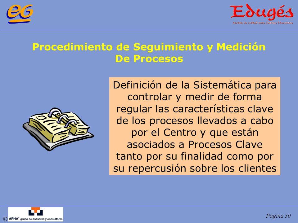 © Página 30 Procedimiento de Seguimiento y Medición De Procesos Definición de la Sistemática para controlar y medir de forma regular las característic