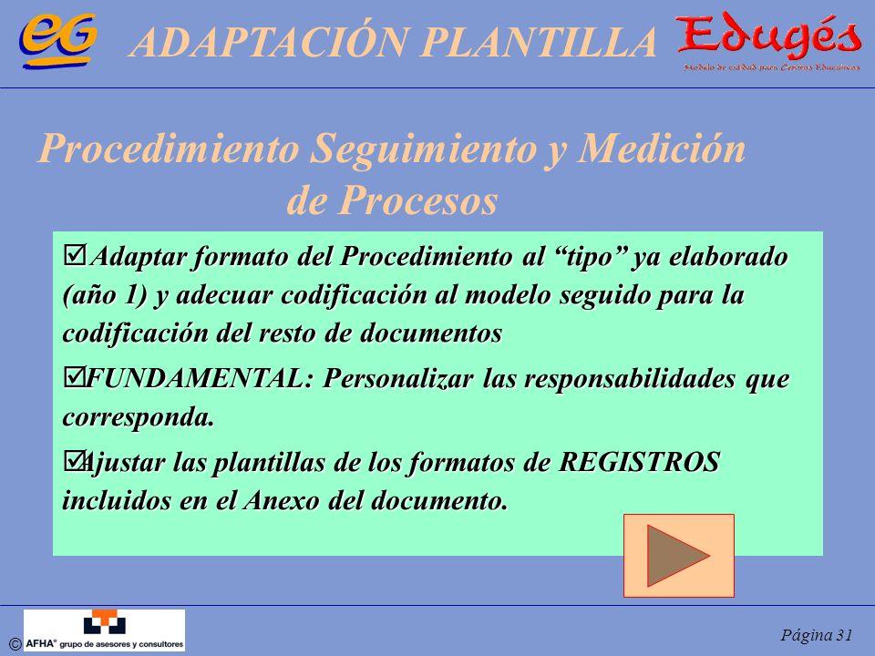 © Página 31 Adaptar formato del Procedimiento al tipo ya elaborado (año 1) y adecuar codificación al modelo seguido para la codificación del resto de