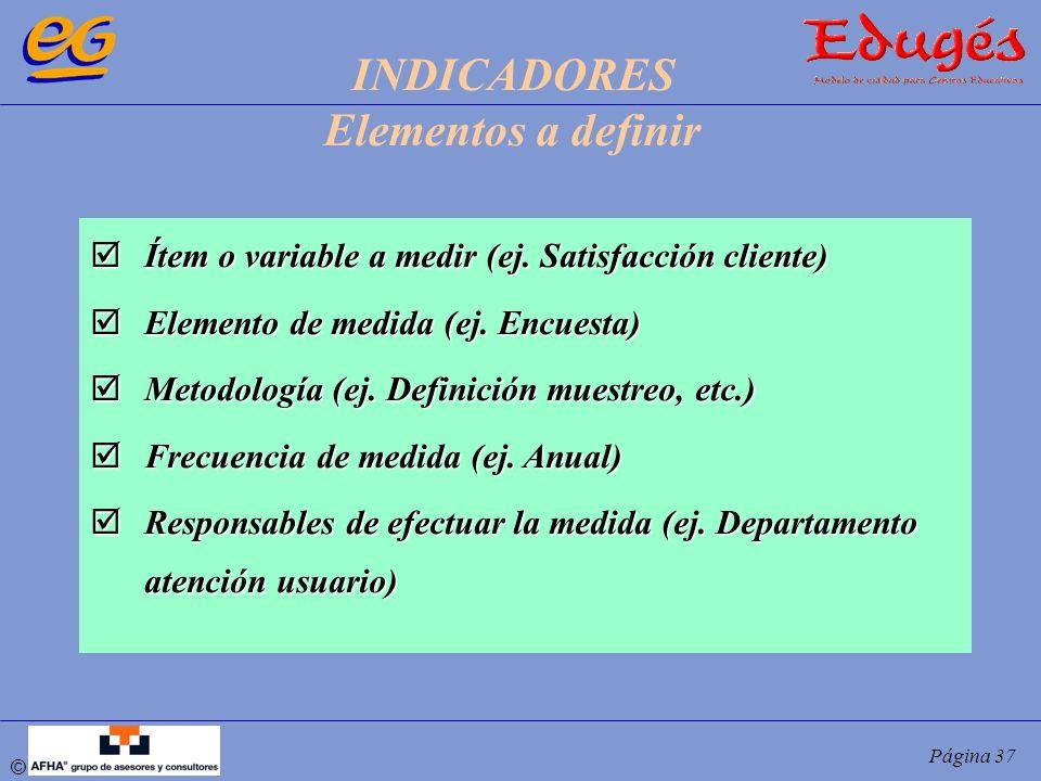 © Página 37 Ítem o variable a medir (ej. Satisfacción cliente) Ítem o variable a medir (ej. Satisfacción cliente) Elemento de medida (ej. Encuesta) El