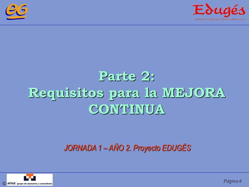 © Página 6 Parte 2: Requisitos para la MEJORA CONTINUA JORNADA 1 – AÑO 2. Proyecto EDUGÉS