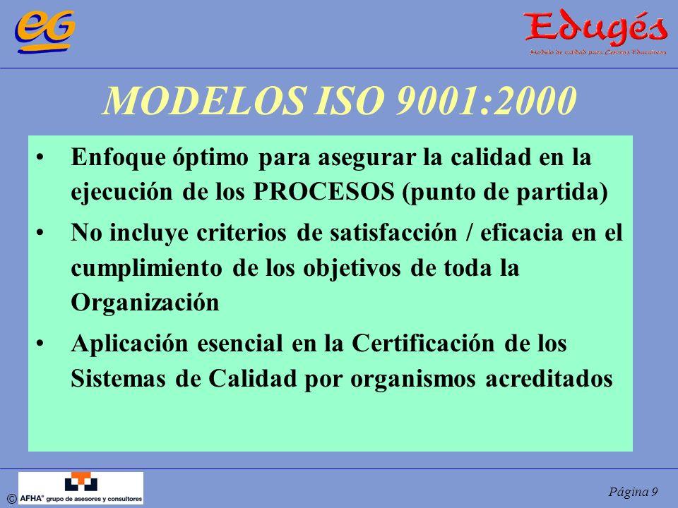 © Página 9 MODELOS ISO 9001:2000 Enfoque óptimo para asegurar la calidad en la ejecución de los PROCESOS (punto de partida) No incluye criterios de sa