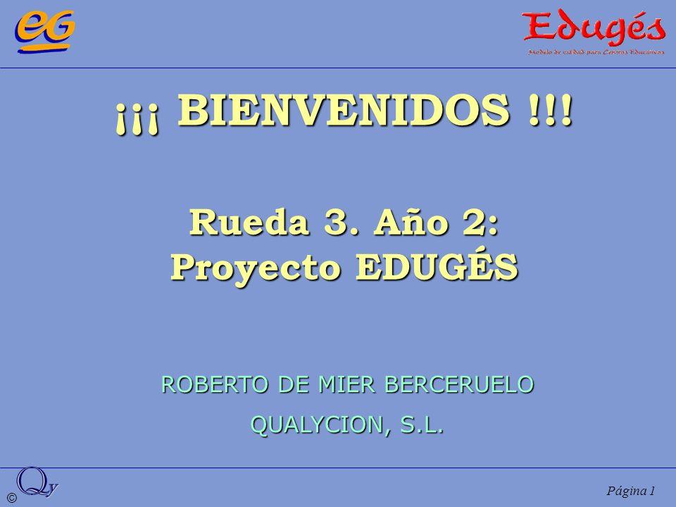 © Página 1 ¡¡¡ BIENVENIDOS !!! Rueda 3. Año 2: Proyecto EDUGÉS ROBERTO DE MIER BERCERUELO QUALYCION, S.L.