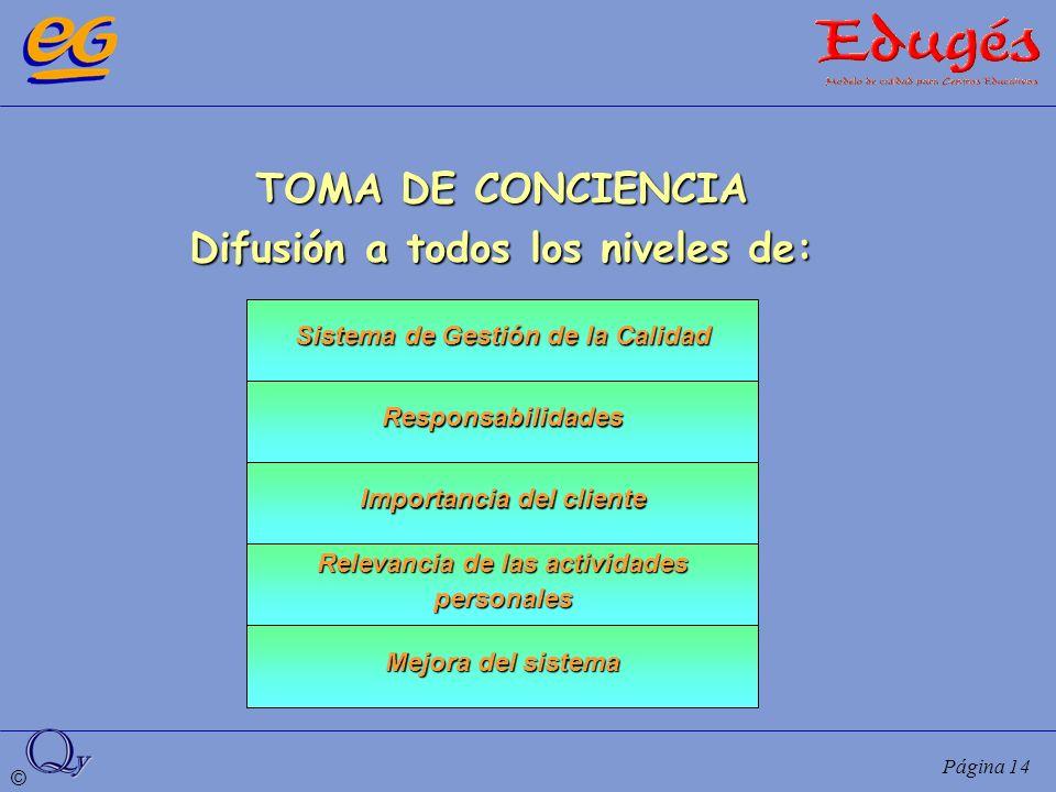 © Página 14 TOMA DE CONCIENCIA Difusión a todos los niveles de: Sistema de Gestión de la Calidad Responsabilidades Importancia del cliente Relevancia