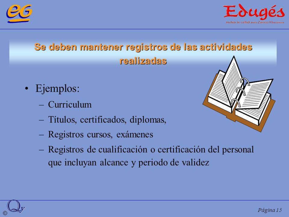 © Página 15 Se deben mantener registros de las actividades realizadas Ejemplos: –Curriculum –Títulos, certificados, diplomas, –Registros cursos, exáme