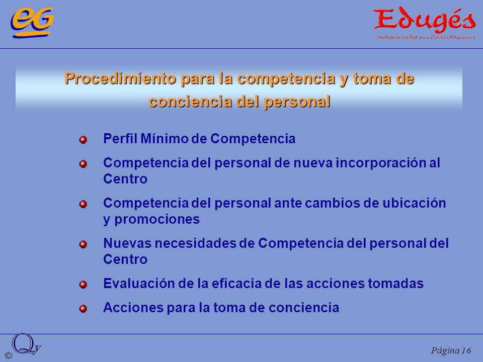 © Página 16 Procedimiento para la competencia y toma de conciencia del personal Perfil Mínimo de Competencia Competencia del personal de nueva incorpo
