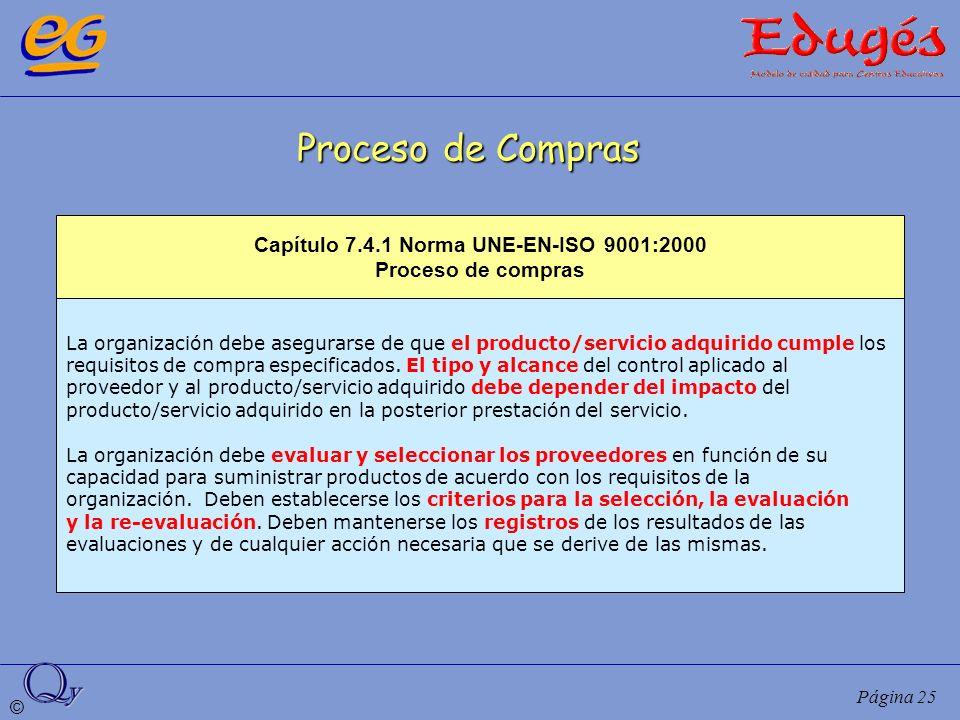 © Página 25 Proceso de Compras La organización debe asegurarse de que el producto/servicio adquirido cumple los requisitos de compra especificados. El