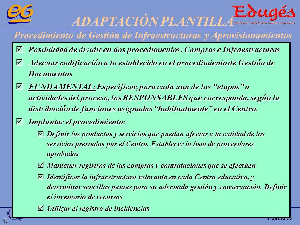 © Página 29 Posibilidad de dividir en dos procedimientos: Compras e Infraestructuras Posibilidad de dividir en dos procedimientos: Compras e Infraestr