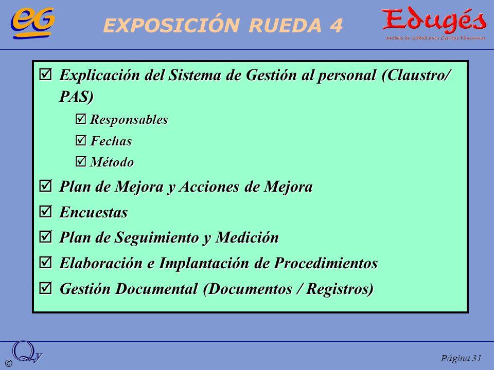 © Página 31 Explicación del Sistema de Gestión al personal (Claustro/ PAS) Explicación del Sistema de Gestión al personal (Claustro/ PAS) Responsables