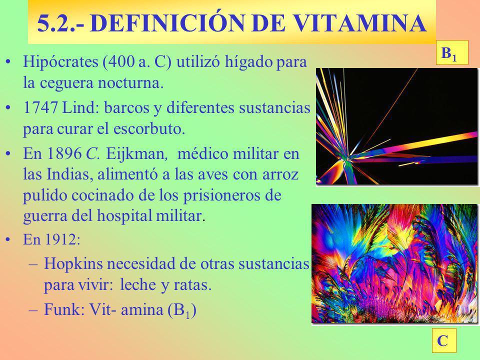 Hipócrates (400 a. C) utilizó hígado para la ceguera nocturna. 1747 Lind: barcos y diferentes sustancias para curar el escorbuto. En 1896 C. Eijkman,