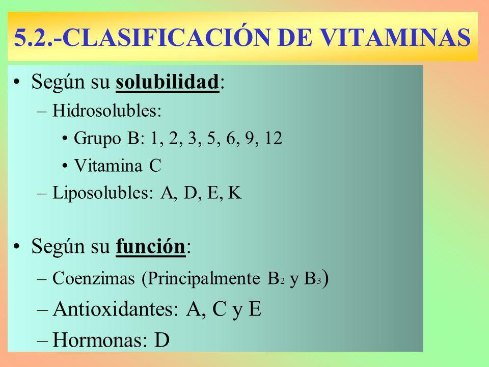 5.2.-CLASIFICACIÓN DE VITAMINAS Según su solubilidad: –Hidrosolubles: Grupo B: 1, 2, 3, 5, 6, 9, 12 Vitamina C –Liposolubles: A, D, E, K Según su func