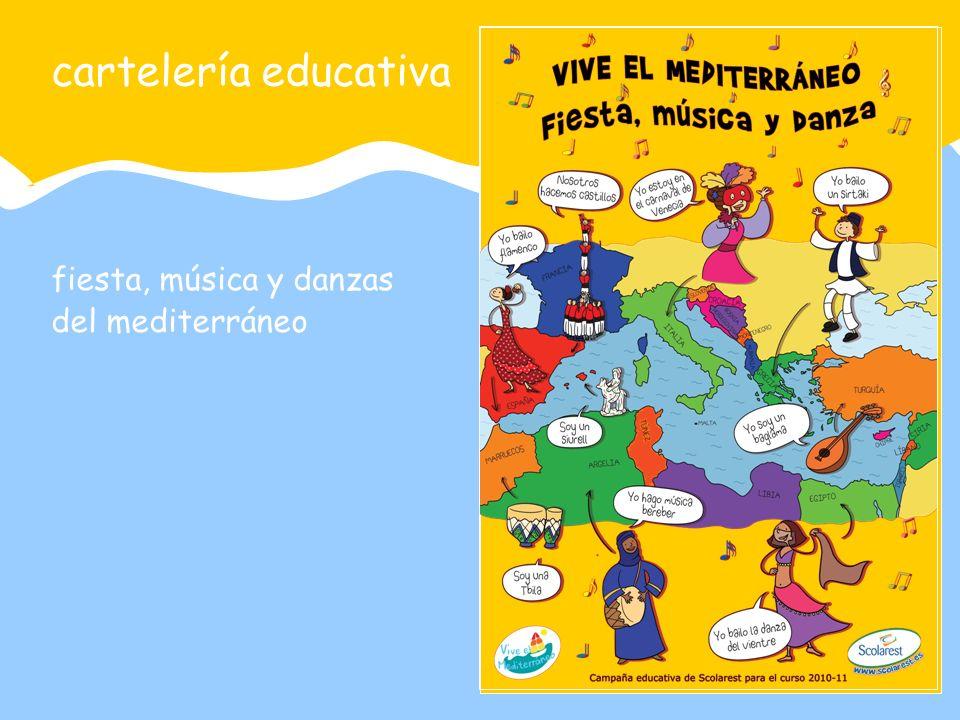 fiesta, música y danzas del mediterráneo cartelería educativa