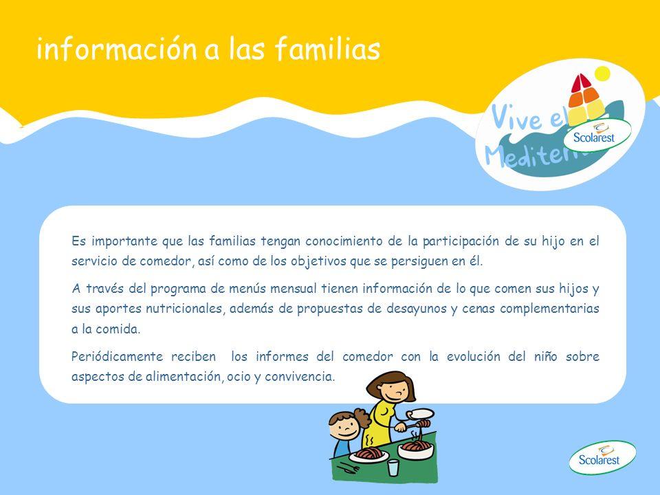 información a las familias Es importante que las familias tengan conocimiento de la participación de su hijo en el servicio de comedor, así como de lo