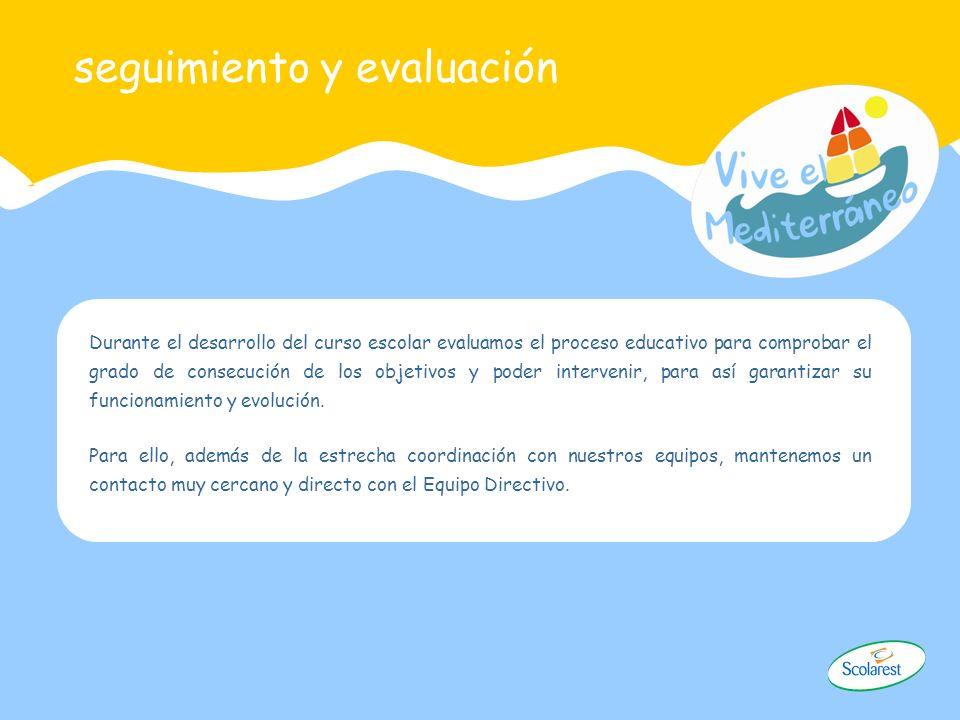 seguimiento y evaluación Durante el desarrollo del curso escolar evaluamos el proceso educativo para comprobar el grado de consecución de los objetivo