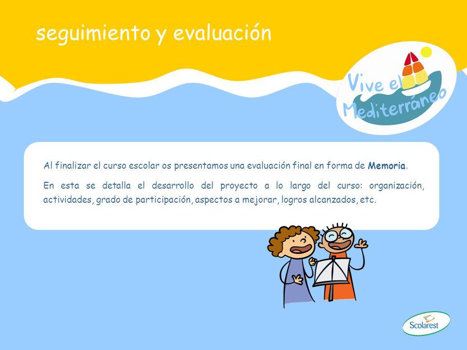 seguimiento y evaluación Al finalizar el curso escolar os presentamos una evaluación final en forma de Memoria. En esta se detalla el desarrollo del p