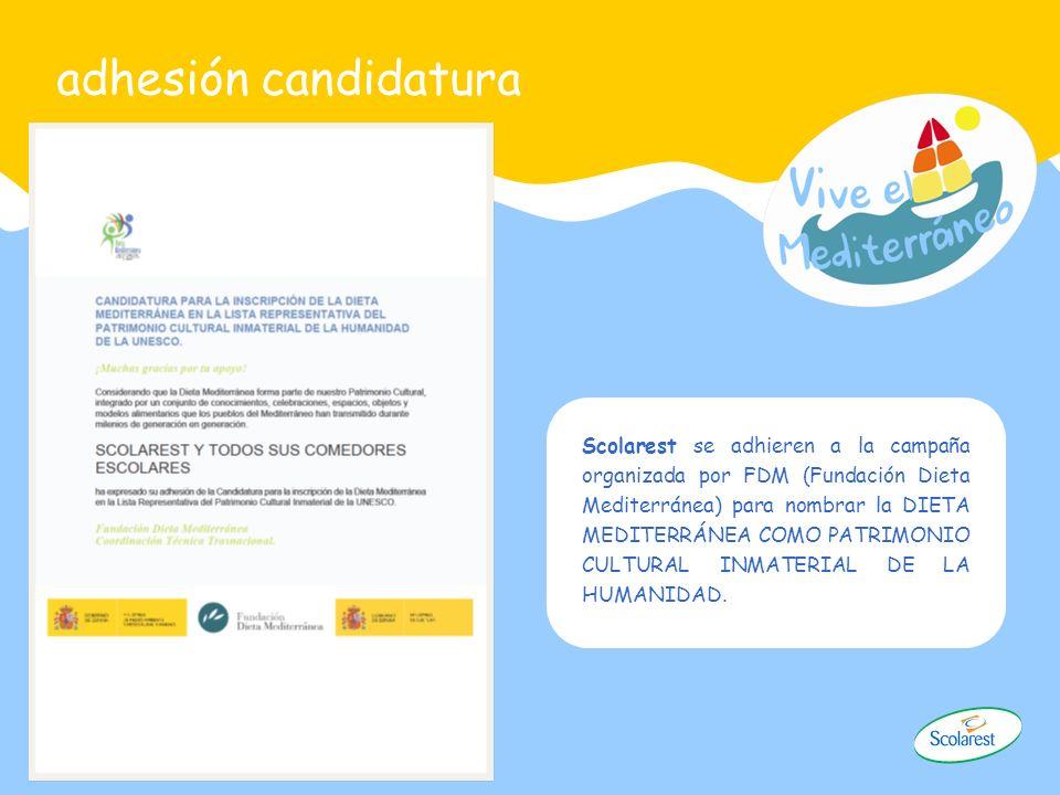 adhesión candidatura Scolarest se adhieren a la campaña organizada por FDM (Fundación Dieta Mediterránea) para nombrar la DIETA MEDITERRÁNEA COMO PATR