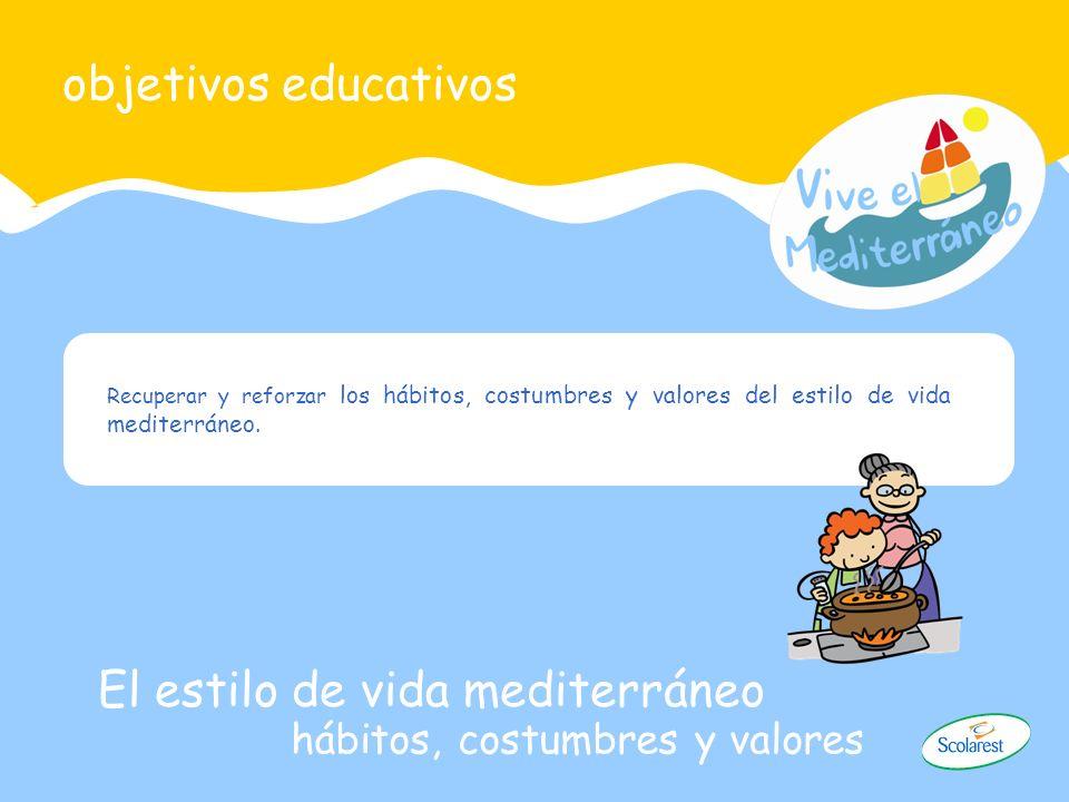 Recuperar y reforzar los hábitos, costumbres y valores del estilo de vida mediterráneo. objetivos educativos El estilo de vida mediterráneo hábitos, c
