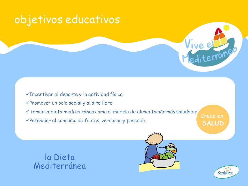 objetivos educativos Incentivar el deporte y la actividad física. Promover un ocio social y al aire libre. Tomar la dieta mediterránea como el modelo