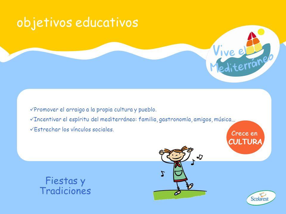 objetivos educativos Promover el arraigo a la propia cultura y pueblo. Incentivar el espíritu del mediterráneo: familia, gastronomía, amigos, música…