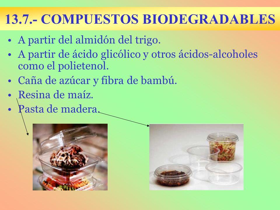 13.7.- COMPUESTOS BIODEGRADABLES A partir del almidón del trigo. A partir de ácido glicólico y otros ácidos-alcoholes como el polietenol. Caña de azúc