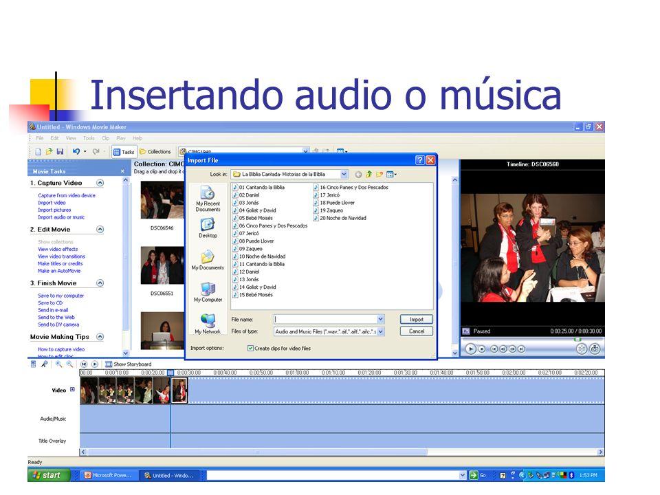Insertando audio o música